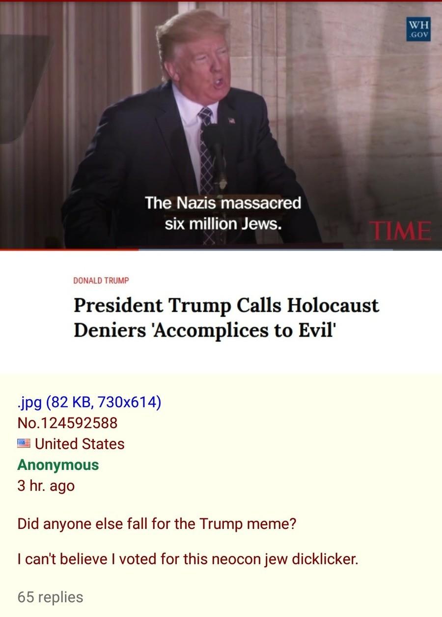 Anon regrets voting for Trump. . The Nazis massacred six million Jews. DONALD Anon regrets voting for Trump The Nazis massacred six million Jews DONALD