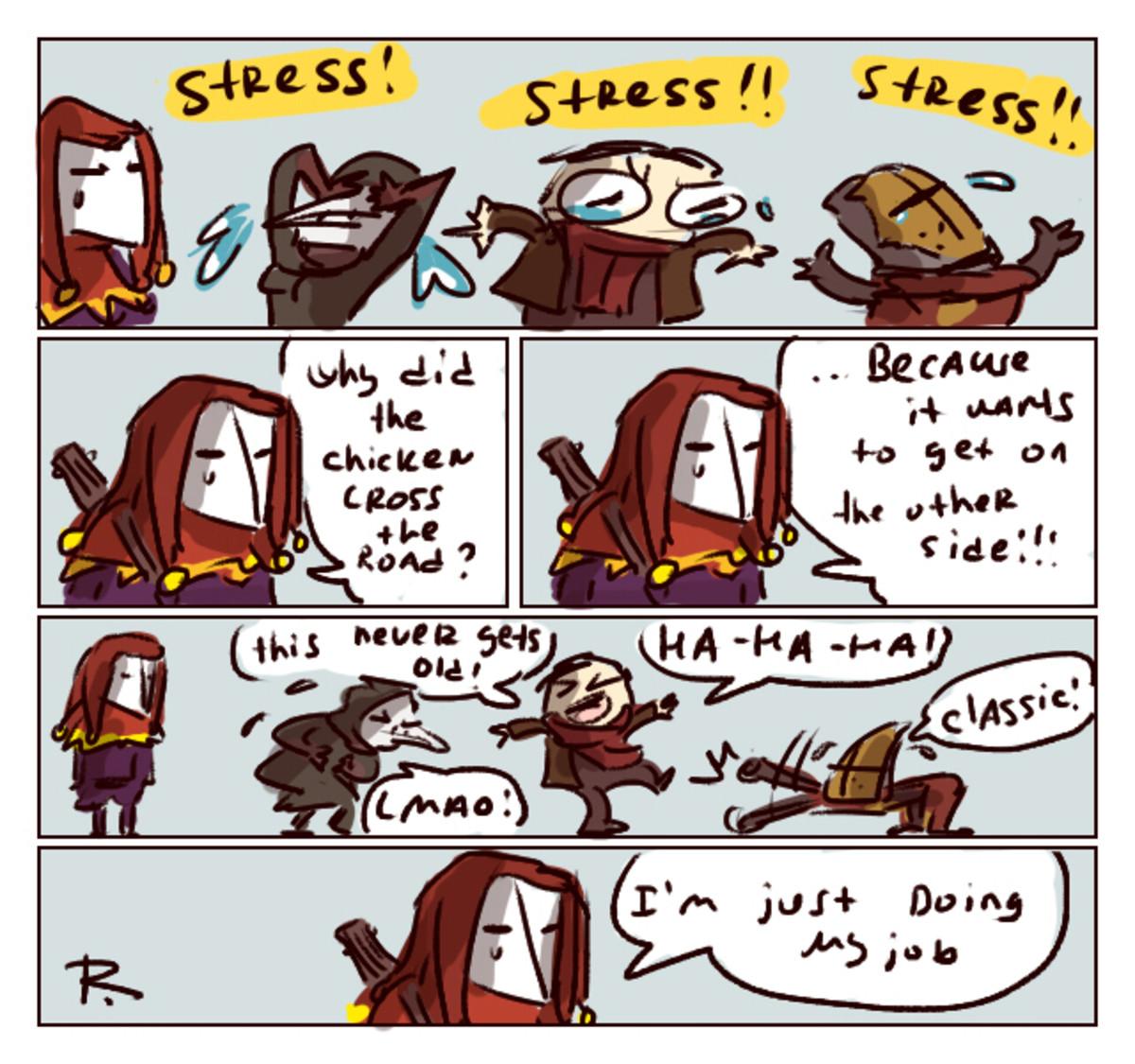 A good joke. inspiring tune A comic by Ayej: ayej.deviantart.com/art/Darkest-Dunge..... join list: DarkestDungeonMention History i love jester btw darkest Dungeon Jester comic plague doctor best Girl crusader Highwayman joke videogame