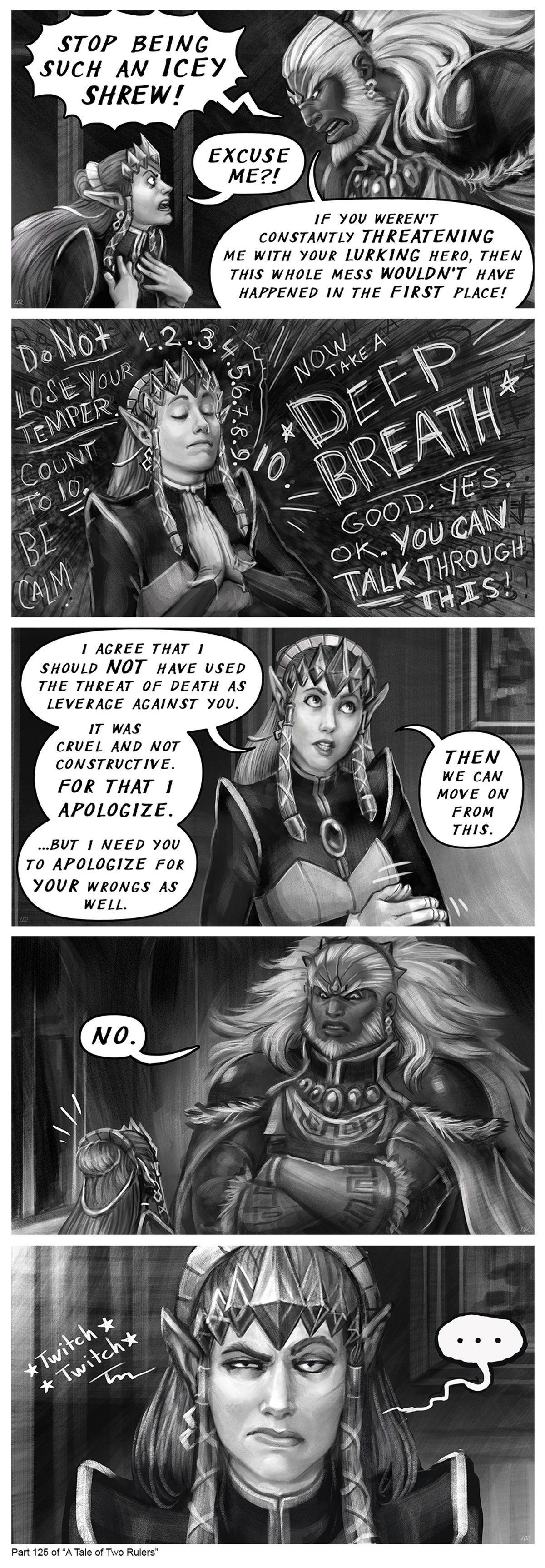 "A Tale of Two Rulers Part 125.  .. ""NO"" Zelda Lin Rinku Ganondorf figmentforms"