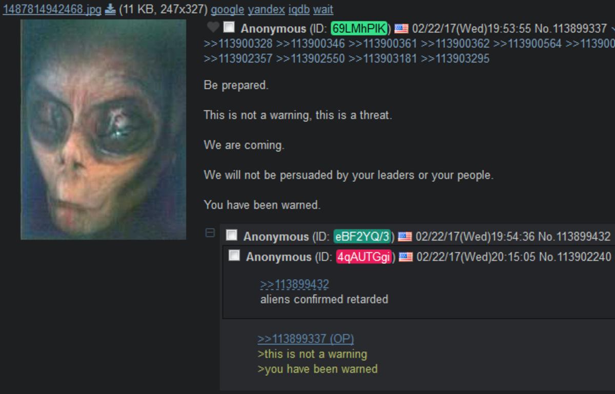Alien visits 4chan. . Alien visits 4chan