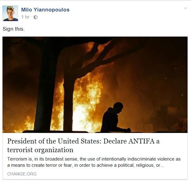 Antifa. www.change.org/p/president-of-the-uni... Antifa becomes a terrorist organization, George Soros gives money to Antifa, Geroge Soros is now an enemy of th antifa terrorist Milo