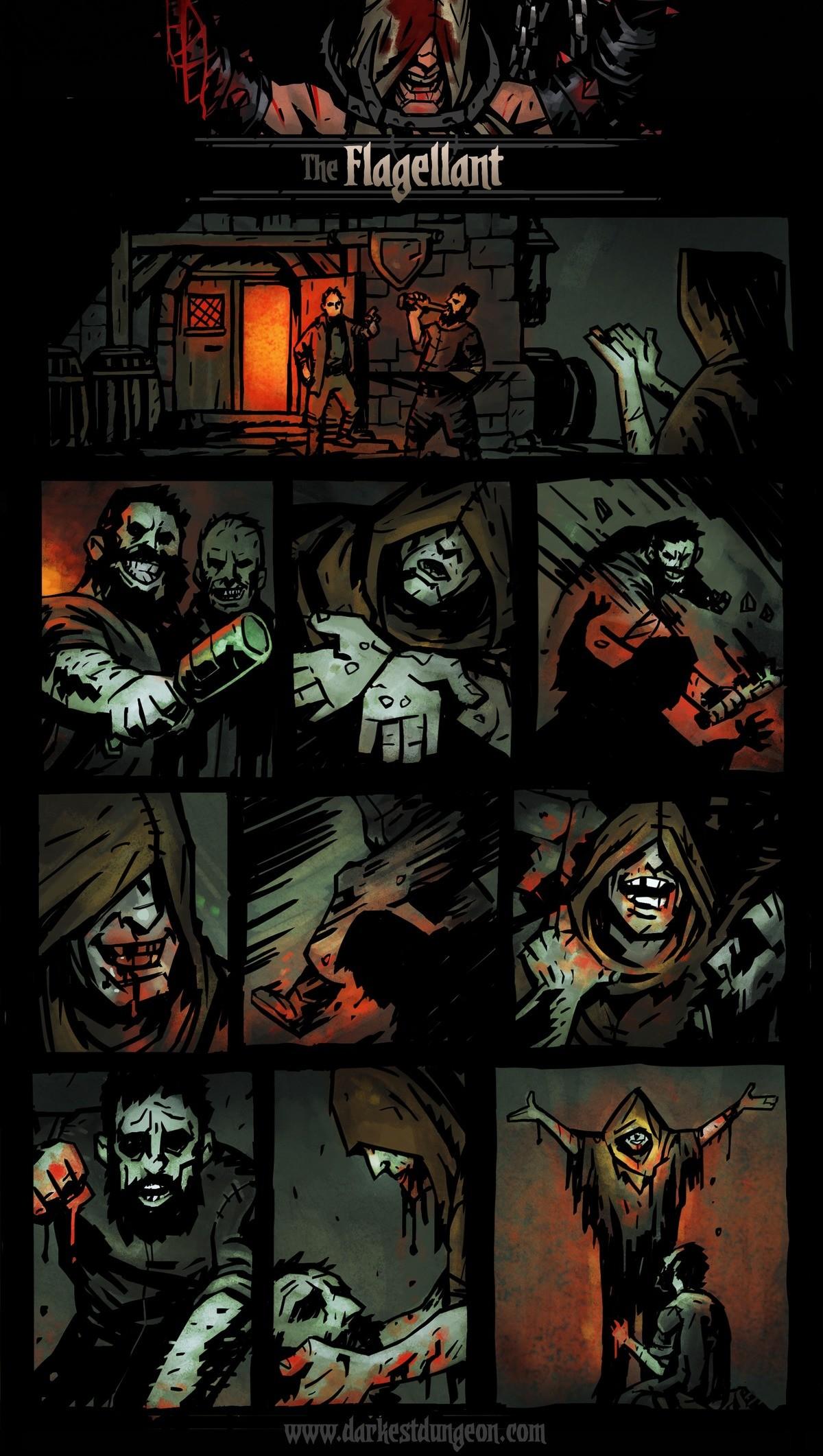 """Darkest Dungeon - The Flagellant. .. Local flagellant at 0 health: """"I AM GROWING STRONGER!"""" DarkestDungeon C"""