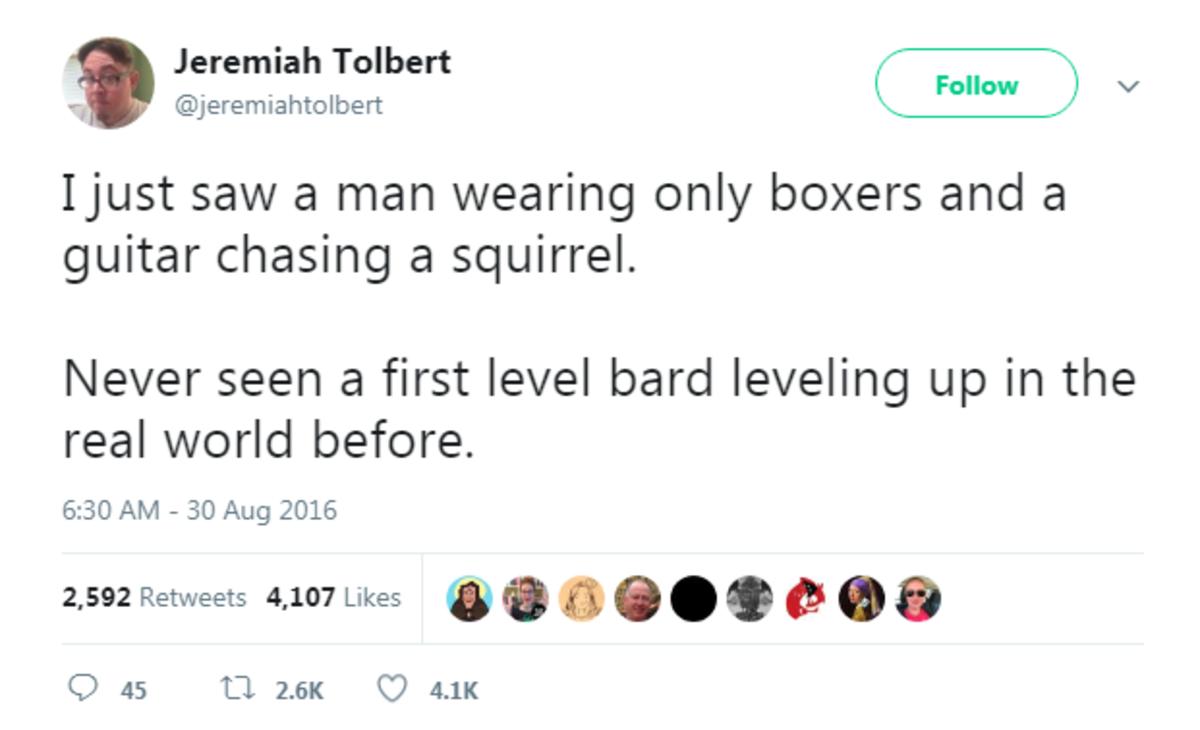 "Dungeons and Dragons. twitter.com/jeremiahtolbert/status/77... I never understood DnD.. Jeremiah Tolbert s a"" i' l q Follow i ' Ijust saw a man wearing only box Dungeons and Dragons twitter com/jeremiahtolbert/status/77 I never understood DnD Jeremiah Tolbert s a"" i' l q Follow i ' Ijust saw a man wearing only box"