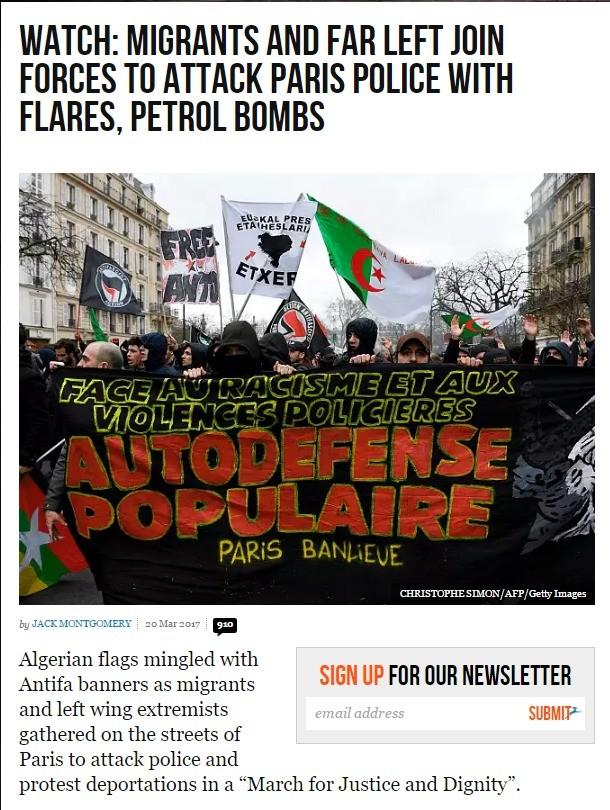 Migrants and far-left attack police in Paris. www.breitbart.com/london/2017/03/20/m... . Parist police migrant far left communist socialist anarchist Riot demonstration politics france