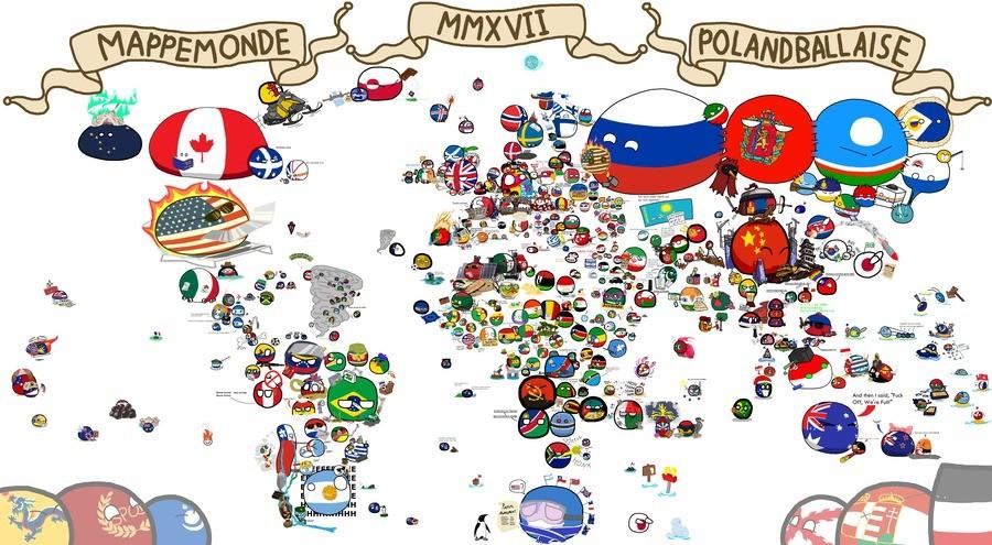 Polandball Map of the World!!. www.reddit.com/r/polandball/comments/..... Finland 100! Celebrate lads! SAATANA ILOITKAA Polandball Map world Worldwide Everything