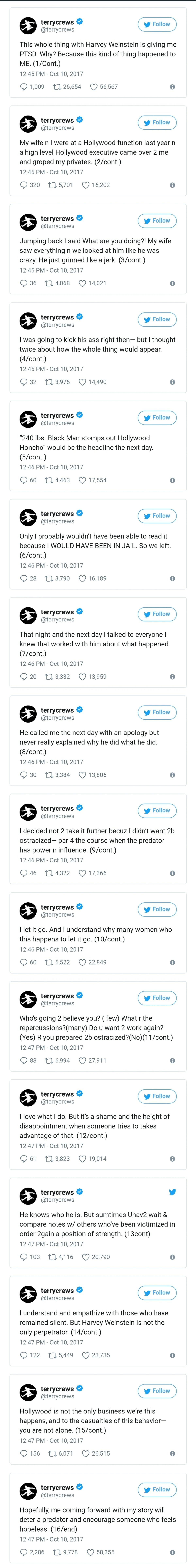 Terry Crews Sexual Assault Tweets. .. Terry is gonna disappear now, ain't he? Terry Crews Sexual Assault Tweets is gonna disappear now ain't he?