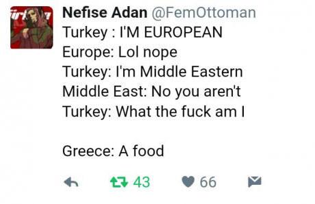 This is turkey and Swiss sourdough. . illa ti Nefoss Adan @ Turkey: PM EUROPEAN Europe: Lol nope Turkey: Middle Eastern Middle East: No we aren' t Turkey: What  politics fun eu europe turkey