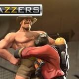 Hot Australian man on full costume firefighter cosplay